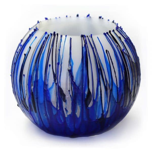 Wax Lantern Splashed blue