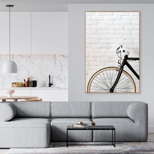 Black Bike Cycle Bicycle Brick Wall Black and White all Art Print