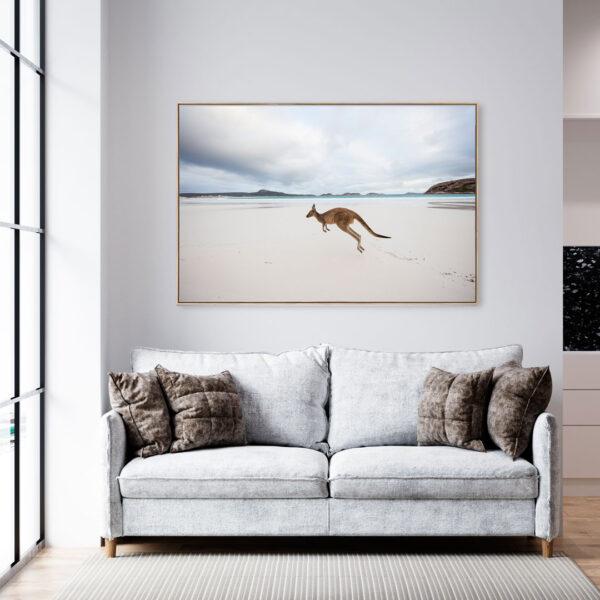 Kangaroo on Beach Wall Art Print