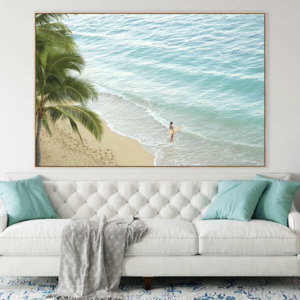 Big canvas framed and hung on the wall in a living room in a Sunshine Coast home