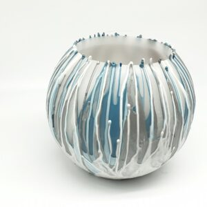 Wax Lantern Aqua Silver White