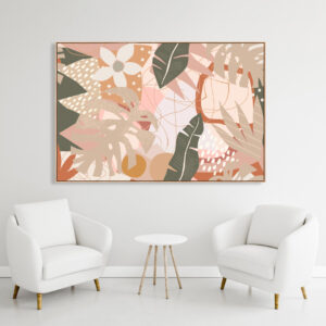 Abstract Leaves and Lines Print Wall Art