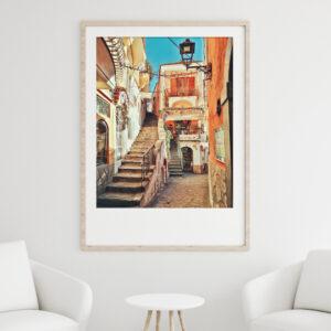 Italian Wall Art Street Scene Print Framed