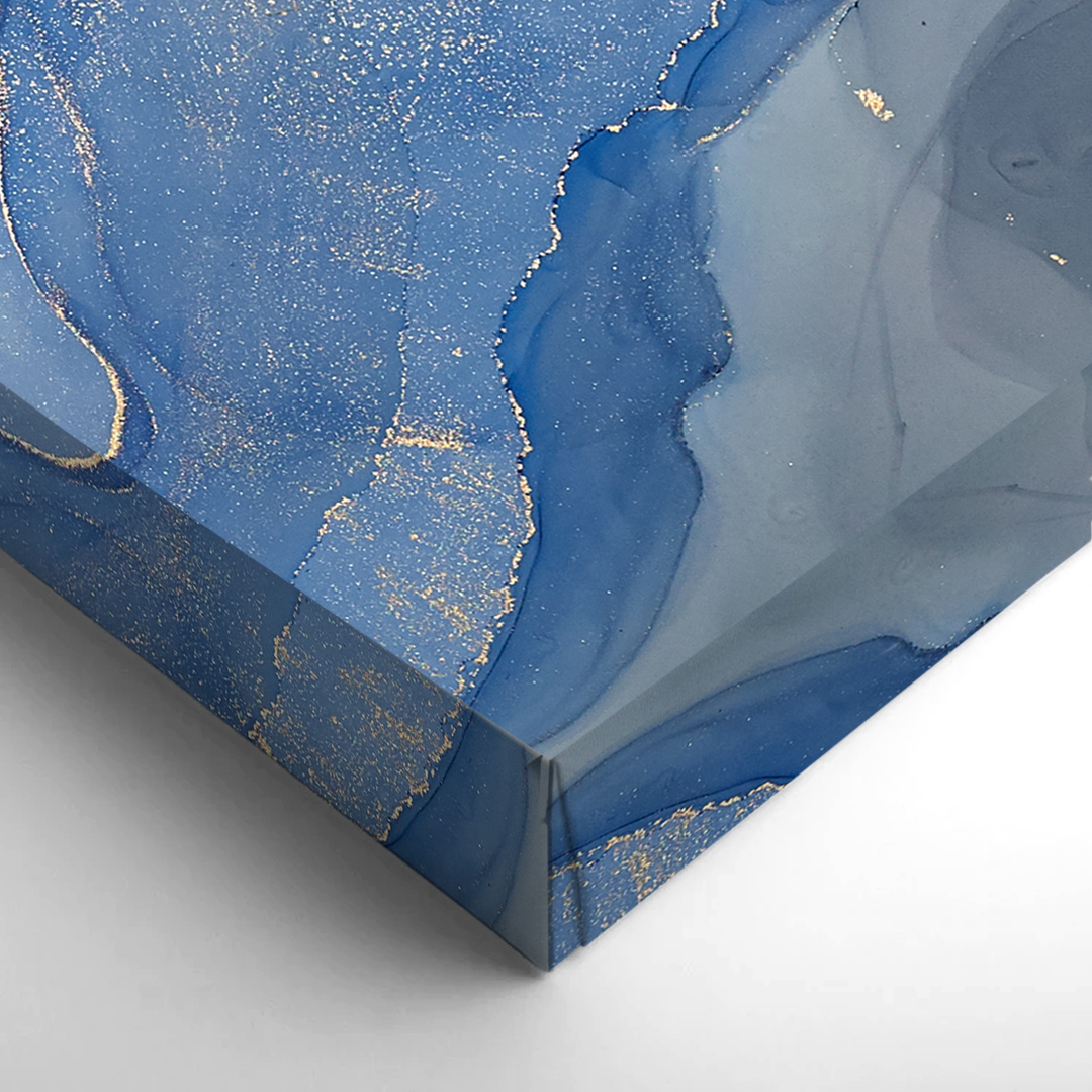 Stretched blue canvas close-up photo