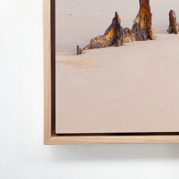 Oak float frame stretched canvas