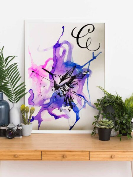 Blue and purple hummingbird on a large canvas with white frame